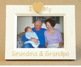 hand painted picture frame - i heart grandma & grandpa