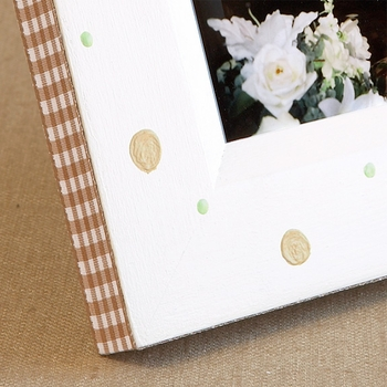 hand painted picture frame - retro dot