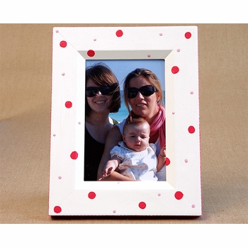 hand painted picture frame -retro dot (baby pink/lime)
