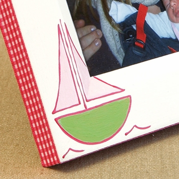 hand painted picture frame - sailboat (pink)