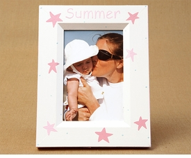 hand painted picture frame - stars
