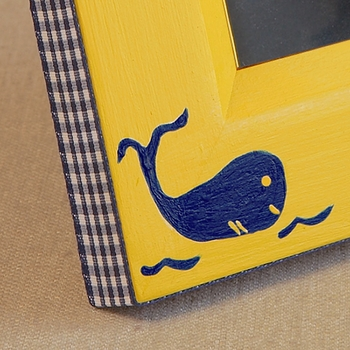 hand painted picture frame - whale