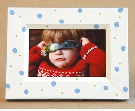 hand painted retro dot frame-white/blue/lime  - no longer available