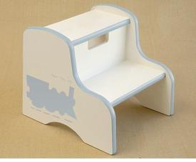 hand painted step stool - train