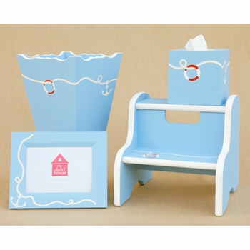 hand painted tissue box - anchor