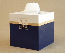hand painted tissue box - classic single monogram