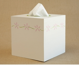 hand painted tissue box - flower border