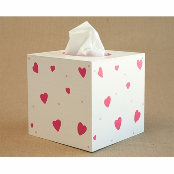 hand painted tissue box - hearts