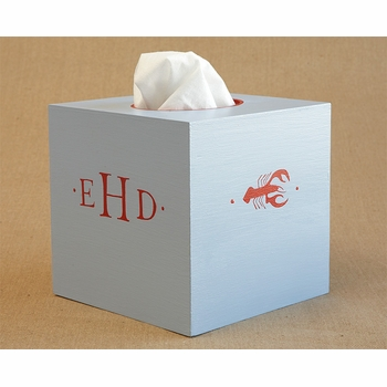 hand painted tissue box - lobster