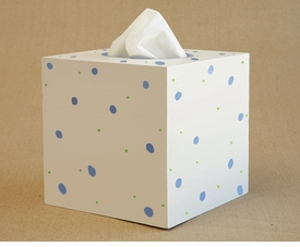 hand painted tissue box-retro dot
