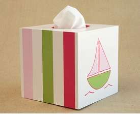 hand painted tissue box - sailboat (pink)