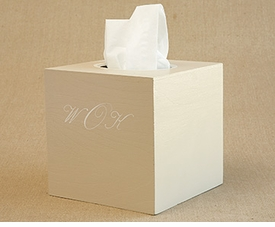 hand painted tissue box - script monogram