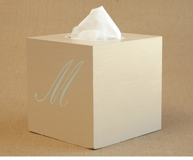 hand painted tissue box - single script monogram