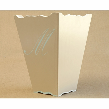 hand painted tissue box & waste basket set - single script monogram