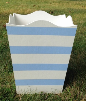 hand painted waste basket - classic single monogram