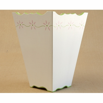 hand painted waste basket - flower border
