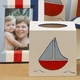 hand painted waste basket - sailboat (blue)