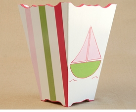 hand painted waste basket - sailboat (pink)