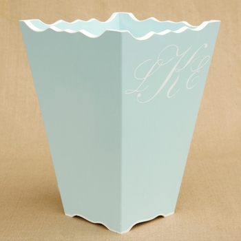 hand painted waste basket - script monogram