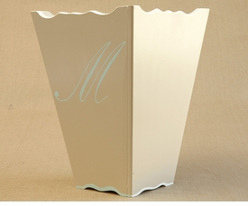 hand painted waste basket - single script monogram