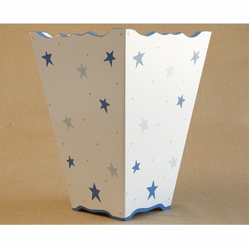 hand painted waste basket - stars