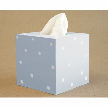 hand painted white dot tissue box