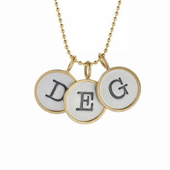 hand stamped initial typewriter key necklace