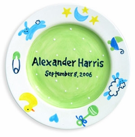 handpainted baby boy plate