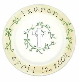 handpainted baby plate - christening, baptism, or birth