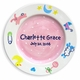 handpainted pink baby plate