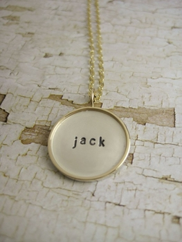 Handstamped Sterling Silver Disc Rimmed with 10K Gold - Engraved Name Pendant - Raised Edge Disc