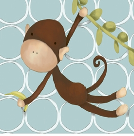 hanging monkey blue wall art canvas reproduction