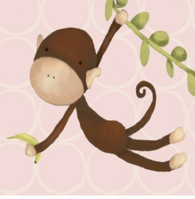 hanging monkey pink wall art canvas