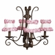 harp chandelier mocha - ring of roses shades