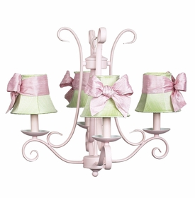 harp chandelier pink - green ribbon shades