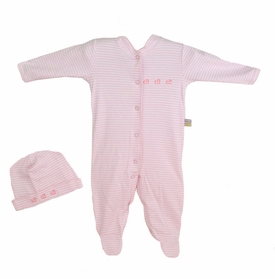 hat and romper set - pink stripes with ducks