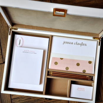 haute papier camel and gold stationery wardrobe
