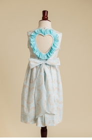 heart back ruffled dress - baby blue