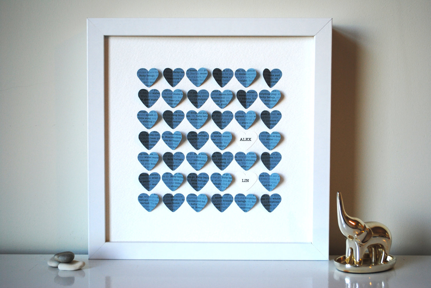 heart shadow box keepsake frame - blue hearts