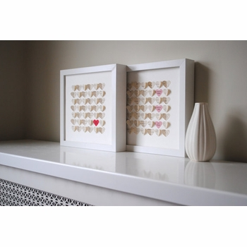 hearts shadow box keepsake frame - ivory hearts