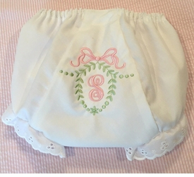 heirloom embroidered initial bow bloomer