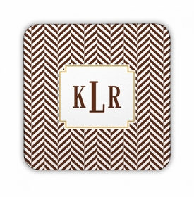 Herringbone Chocolate Square Coaster