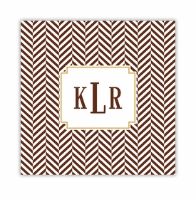 herringbone chocolate square paper coaster<br>set of 50