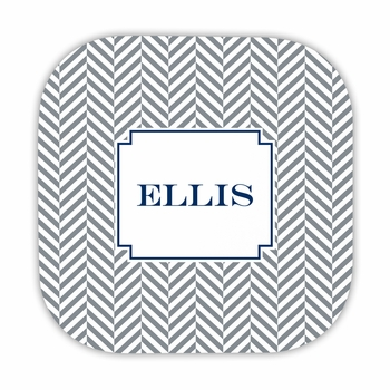 herringbone gray hardback rounded coaster<br>(set of 4)