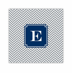 herringbone gray square paper coaster<br>set of 50