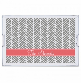 Herringbone Grey Large Tray