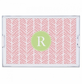 Herringbone Pink Large Tray