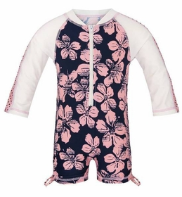 hibiscus navy pink long sleeve sunsuit