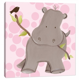 hippo wall art - pink