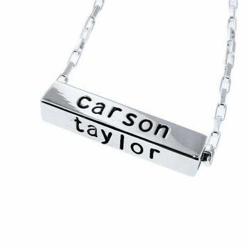 horizontal sterling silver bar necklace